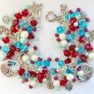 Mermaid Fish Red White Aqua Blue Bead Charm Bracelet