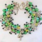 Fairy Mushroom Dragonfly Green and Black Cha Cha Charm Bracelet
