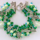 Angel Fairy Leaf Charm Green Rose Flower Cha Cha Bracelet