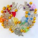 Fairy and Four Leaf Clover Yellow Rainbow Charm Bracelet