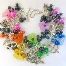 Fairy and Four Leaf Clover Black Rainbow Bead Charm Bracelet