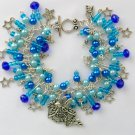 Fairy and Dangling Shooting Star Blue Aqua Charm Bracelet