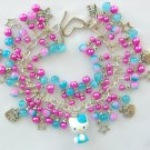 Hello Kitty Cat Aqua Blue Fuchsia Pink Star Charm Bracelet