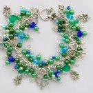 Four Leaf Clover Green Touch of Blue Lucky Charm Bracelet