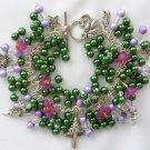 Fairy Forest Mushroom Dark Green Purple Bell Flower Charm Bracelet