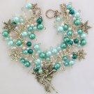 Fairy Snowflake Winter Green Pearl Charm Bracelet