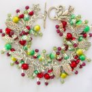 Christmas Red and Green Leaf Cha Cha Charm Bracelet