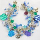 Cat and Paw Print Purple Blue Green Pastel Charm Bracelet
