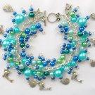 Dolphin Seashell Ocean Blue Aqua Pearl Bead Charm Bracelet