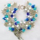 Fairy Snowflake Aqua and Blue Bead Silver Charm Bracelet