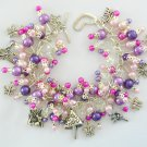 Fairy Mushroom Butterfly Pink Purple Fuchsia Bead Charm Bracelet