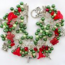 Fairy Mushroom Flower Czech Butterfly Green Red Charm Bracelet