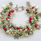 Cat & Snowflake Christmas Red Green Cha Cha Charm Bracelet