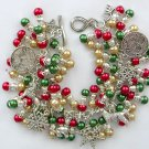 Christmas Dog and Snowflake Red Green Charm Bracelet