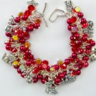 Cat Cha Cha Red Iridescent Glass Bead Charm Bracelet