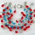 Red White and Blue Crystal Bead Star Charm Bracelet