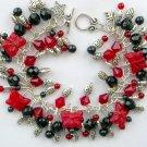Ladybug Luck Czech Butterfly Red Black Cha Cha Charm Bracelet