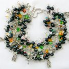 Millefiori Heart Black Bead Cupid Cherub Love Charm Bracelet