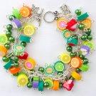 Fruit Vegetarian Vegan Lime Lemon Strawberry Charm Green Bead Bracelet