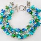 Bell Flower Butterfly Aqua Blue Green Bead Cha Cha Charm Bracelet