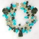 Black Cat Angel Paw Print Aqua Blue Cha Cha Charm Bracelet