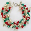 Christmas Crystal Red Green Bead Leaf Charm Bracelet