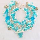 Ice Cream Sundae Charm Aqua Blue Crystal AB Heart Bead Bracelet