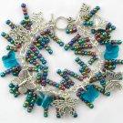 Butterfly AB Aurora Borealis Rainbow Aqua Blue Charm Bracelet