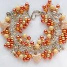 Cat Peach Cream Cha Cha Faux Pearl Bead Charm Bracelet