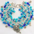 Fairy Stars and Moon Aqua Blue Crystal Faux Pearl Charm Bracelet