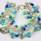 Mermaid Fish Aqua Blue Lime Green Charm Cha Cha Bracelet