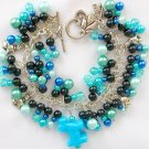 Dog Aqua Blue & Black Pony Bead Charm Bracelet