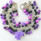Dog Purple & Black Pony Bead Cha Cha Charm Bracelet