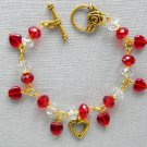 Gold Heart Red Clear Crystal Bead Charm Bracelet