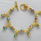 Aurora Borealis Iridescent Crystal Bead Flower Gold Tone Bracelet