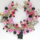 Czech Black Cat Angel Flower Pink Bead Cha Cha Charm Bracelet