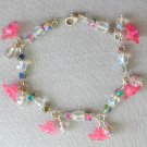 Pink Bell Flower Crystal AB Iridescent Glass Bead Bracelet