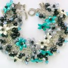 Teal Green Black Grey Flower Bead Cha Cha Charm Bracelet