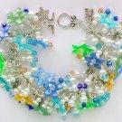 Aqua Blue Lime Green Flower Bead Charm Cha Cha Bracelet