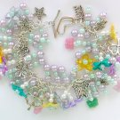 Pastel Purple Blue Yellow Flower Czech Butterfly Bead Charm Bracelet