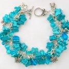 Butterfly Aqua Blue Cha Cha Glass Bead Charm Bracelet