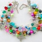 Rainbow Multi Color Bead Butterfly Cha Cha Charm Bracelet