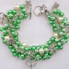 Four Leaf Clover Shamrock Green Cha Cha Charm Bracelet