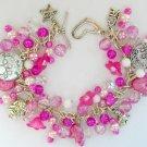 Dog Charm Bell Flower Fuchsia Pink Bead Cha Cha Bracelet
