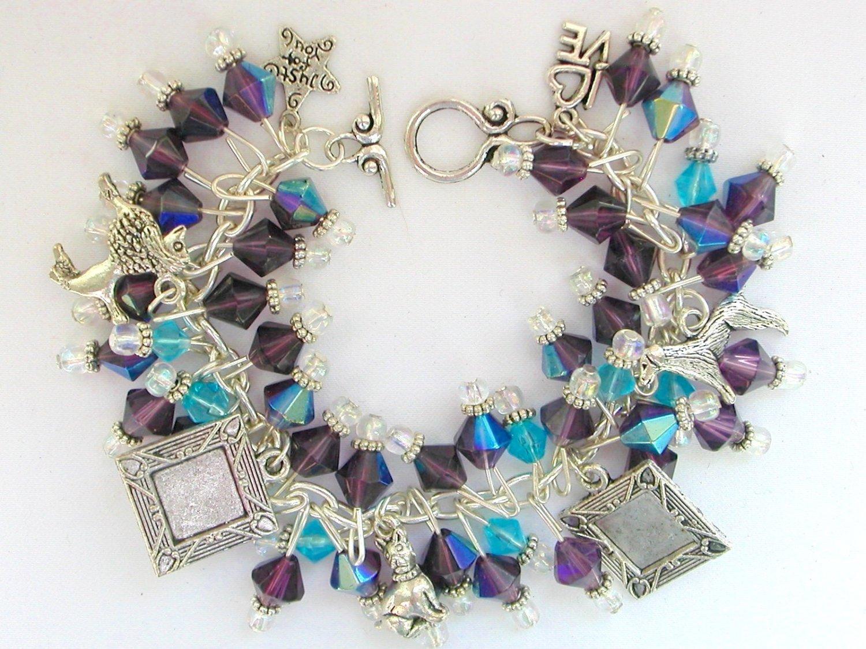 Dog Picture Photo Frame Purple Iridescent AB Bead Charm Bracelet