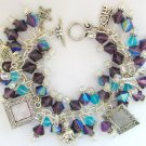 Dog Picture Photo Frame Purple Iridescent AB Bead Charm Bracelet