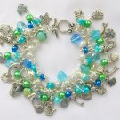 Mermaid Czech Sea Shell Fish Dolphin Charm Blue Green Bracelet
