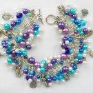 Mermaid Fish Seashell Purple Aqua Blue Charm Cha Cha Bracelet