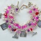 Love My Cat Pink Fuchsia Picture Frame Charm Bracelet