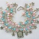Baby Shower Pink Blue Flower Picture Frame Charm Bracelet